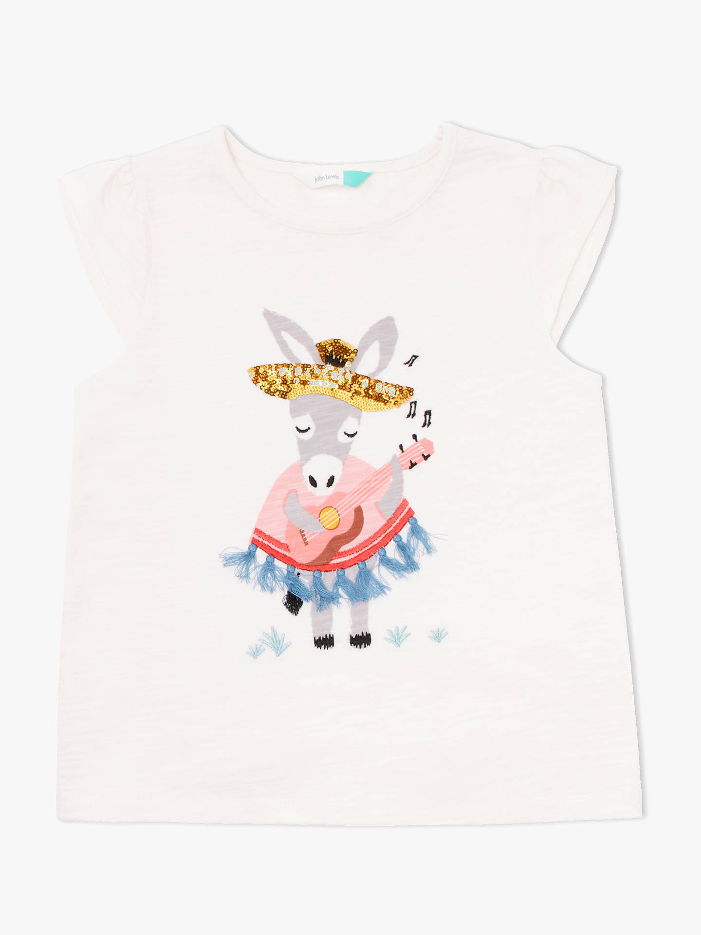 BuyJohn Lewis & Partners Girls' Donkey T-Shirt, Cream, 2 years Online at johnlewis.com