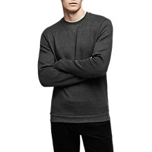 Buy Reiss Grange Textured Geometric Crew Neck Sweatshirt, Soft Grey Online at johnlewis.com