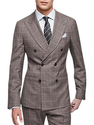 Reiss Belvedere Check Slim Fit Suit, Brown