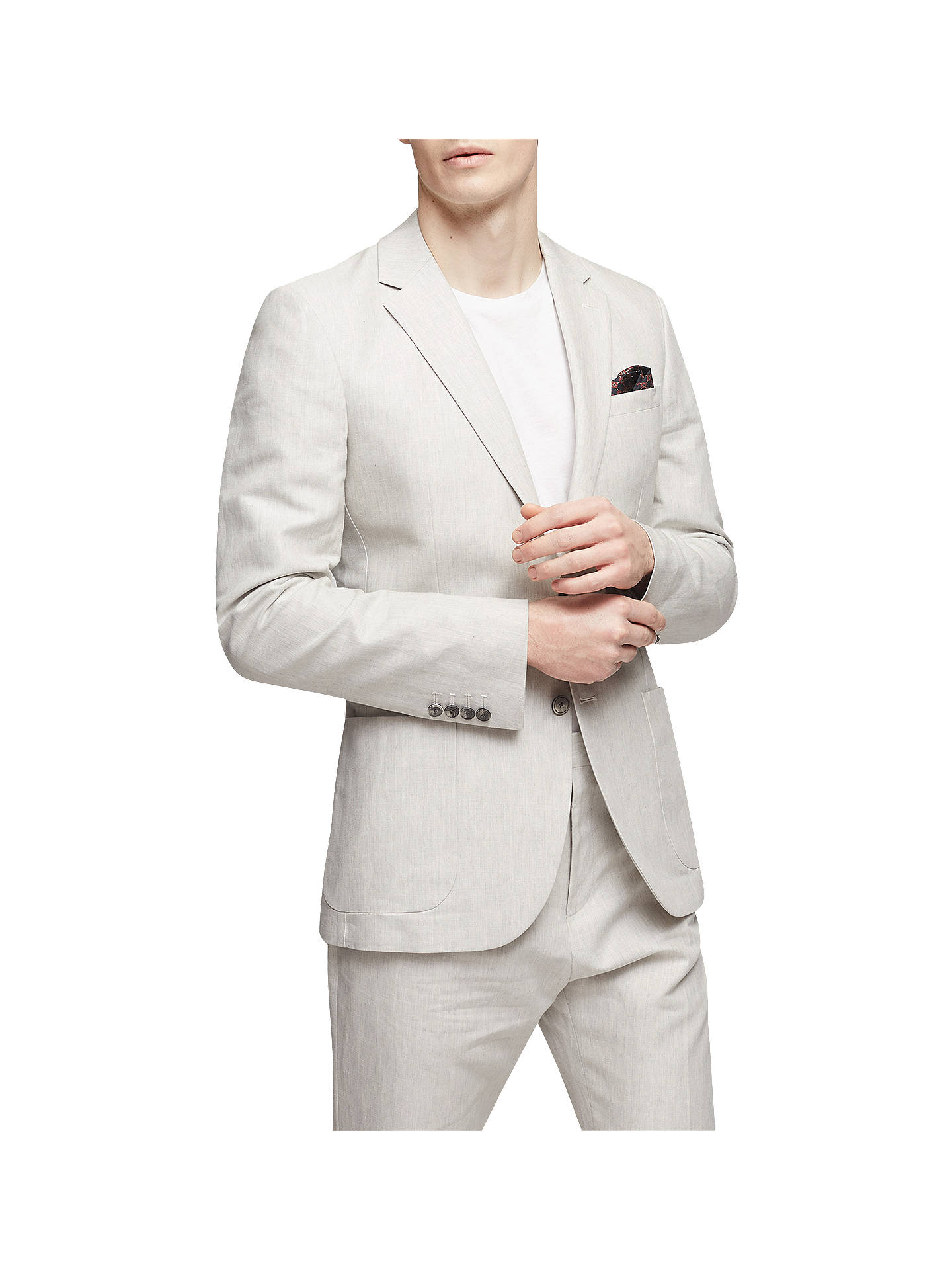 BuyReiss Chilwa Cotton Linen Slim Fit Suit Jacket, Natural, 34R Online at johnlewis.com