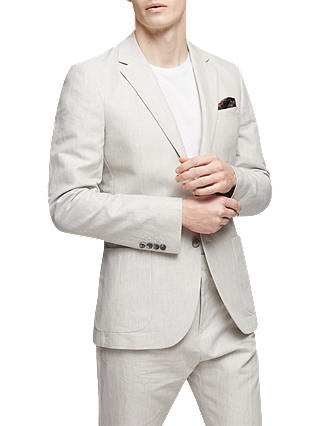 Buy Reiss Chilwa Cotton Linen Slim Fit Suit Jacket, Natural, 34R Online at johnlewis.com
