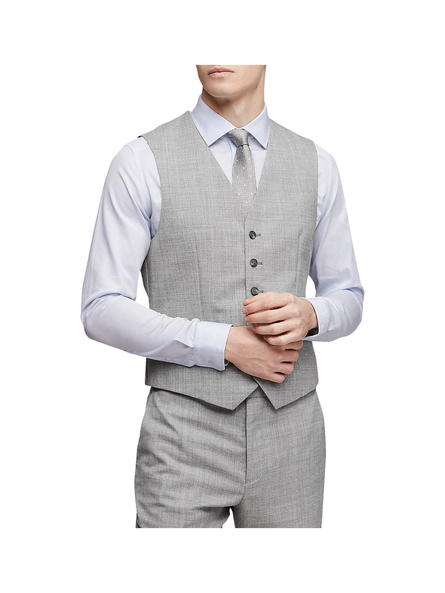 Buy Reiss Bravo Wool Slim Fit Waistcoat, Grey, 34R Online at johnlewis.com