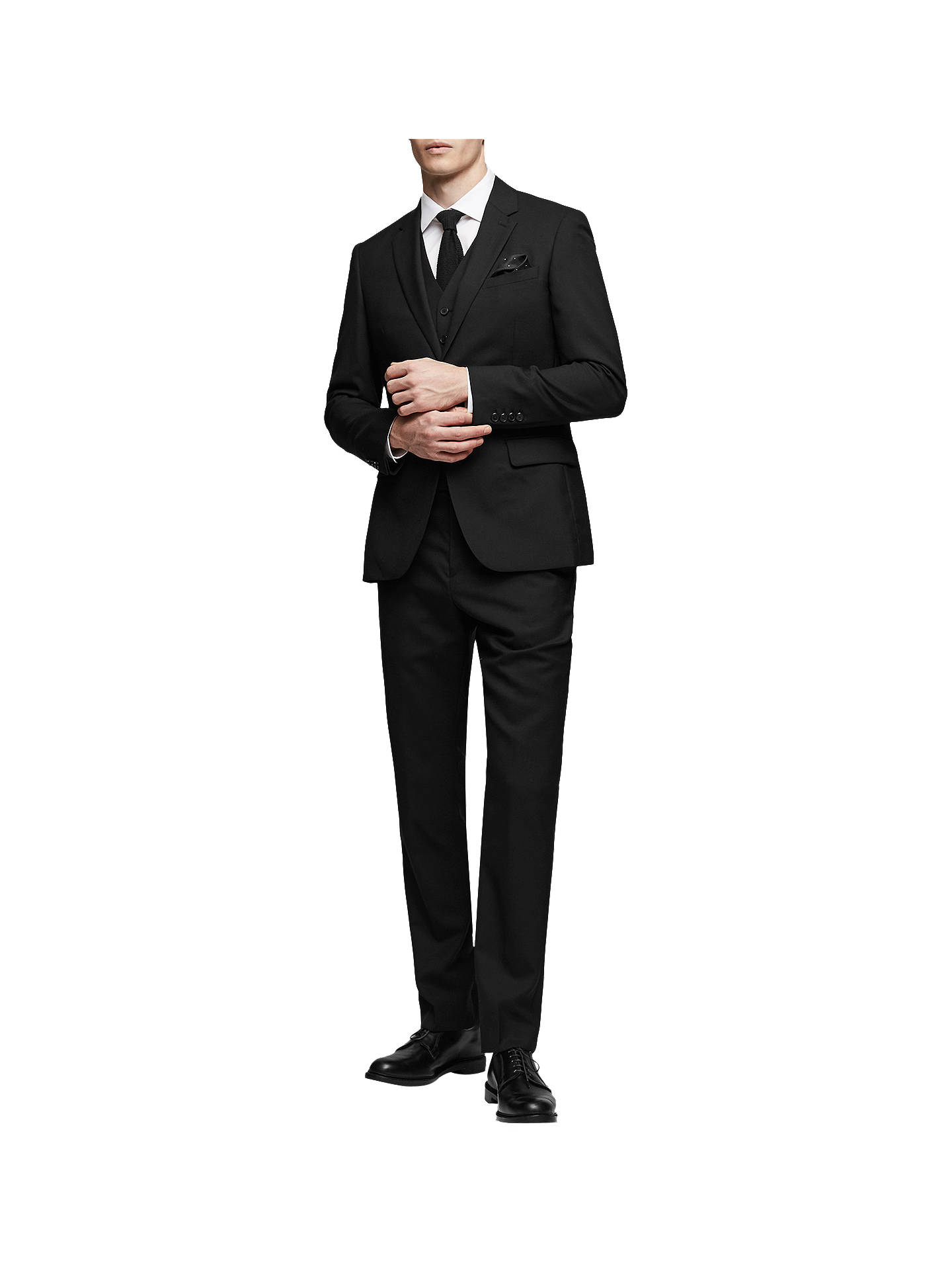 Buy Reiss Bravo Wool Slim Fit Suit Trousers, Black, 28R Online at johnlewis.com