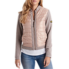Buy Barbour International Brake Zip Through Bomber Jacket, Pale Pink Online at johnlewis.com