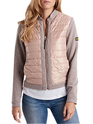 25bde3d06 Barbour International Brake Zip Through Bomber Jacket, Pale Pink at ...