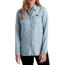 Buy Barbour International Track Denim Shirt, Bleach Wash Online at johnlewis.com