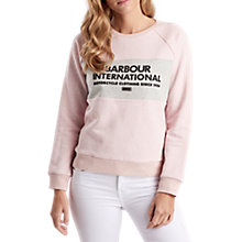 Buy Barbour International Flock Print Cotton Sweatshirt, Pale Pink/Grey Online at johnlewis.com