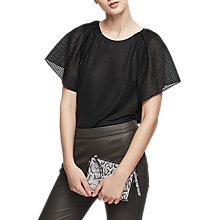 Buy Reiss Bridget Ruffle Sleeve Top, Black Online at johnlewis.com