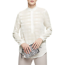 Buy Reiss Iona Texture Blouse, Off White Online at johnlewis.com