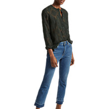 Buy French Connection Edna Fil De Coupe Collarless Shirt, Ink Green Online at johnlewis.com