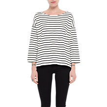 Buy French Connection Tim Tim Stripe Top, Winter White/Black Online at johnlewis.com