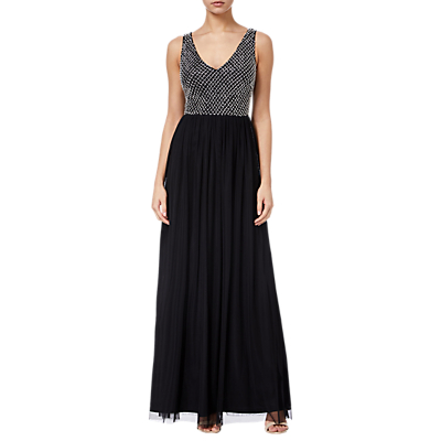 Adrianna Papell Beaded Long Dress, Black/Ivory