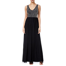 Buy Adrianna Papell Beaded Long Dress, Black/Ivory Online at johnlewis.com