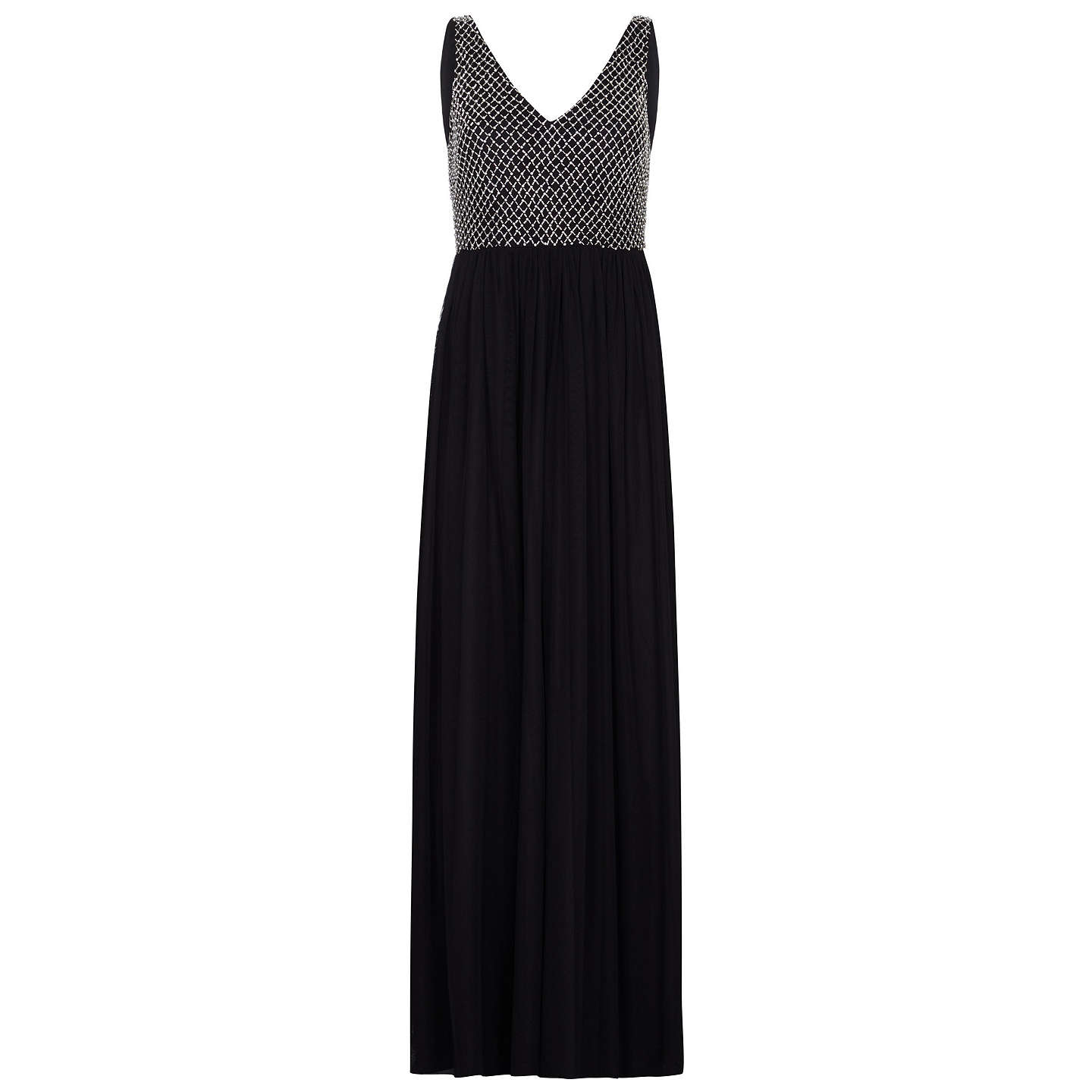 BuyAdrianna Papell Beaded Long Dress, Black/Ivory, 8 Online at johnlewis.com