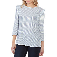 Buy Fat Face Melba Stripe Three-Quarter Frill Top, Surf Blue Online at johnlewis.com