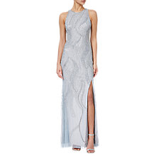Buy Adrianna Papell Beaded Sleeveless Long Dress, Blue Heather/Silver Online at johnlewis.com