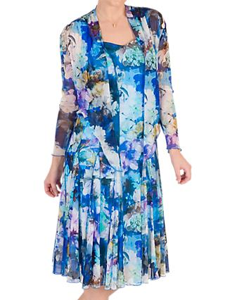 Chesca Floral Print Mesh Dress and Bolero, Blue/Multi