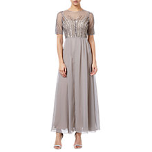 Buy Adrianna Papell Petite Beaded Long Dress, Deep Platinum Online at johnlewis.com