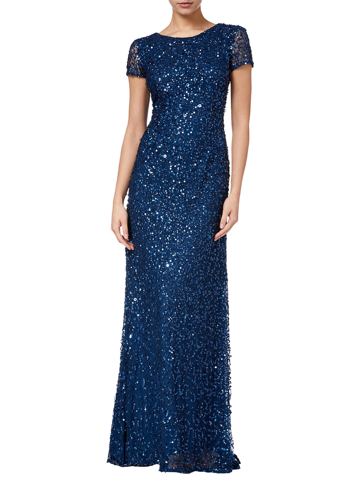 Buy Adrianna Papell Scoop Back Sequin Evening Dress, Deep Blue, 8 Online at johnlewis.com