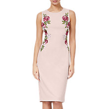 Buy Adrianna Papell Knit Crepe Embroidered Dress, Blush Online at johnlewis.com