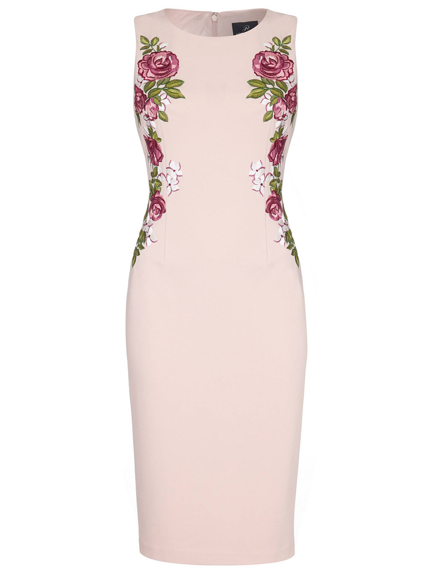 BuyAdrianna Papell Knit Crepe Embroidered Dress, Blush, 16 Online at johnlewis.com