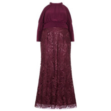 Buy Adrianna Papell Plus Size Long Sequin Blouson Dress, Cabernet Online at johnlewis.com