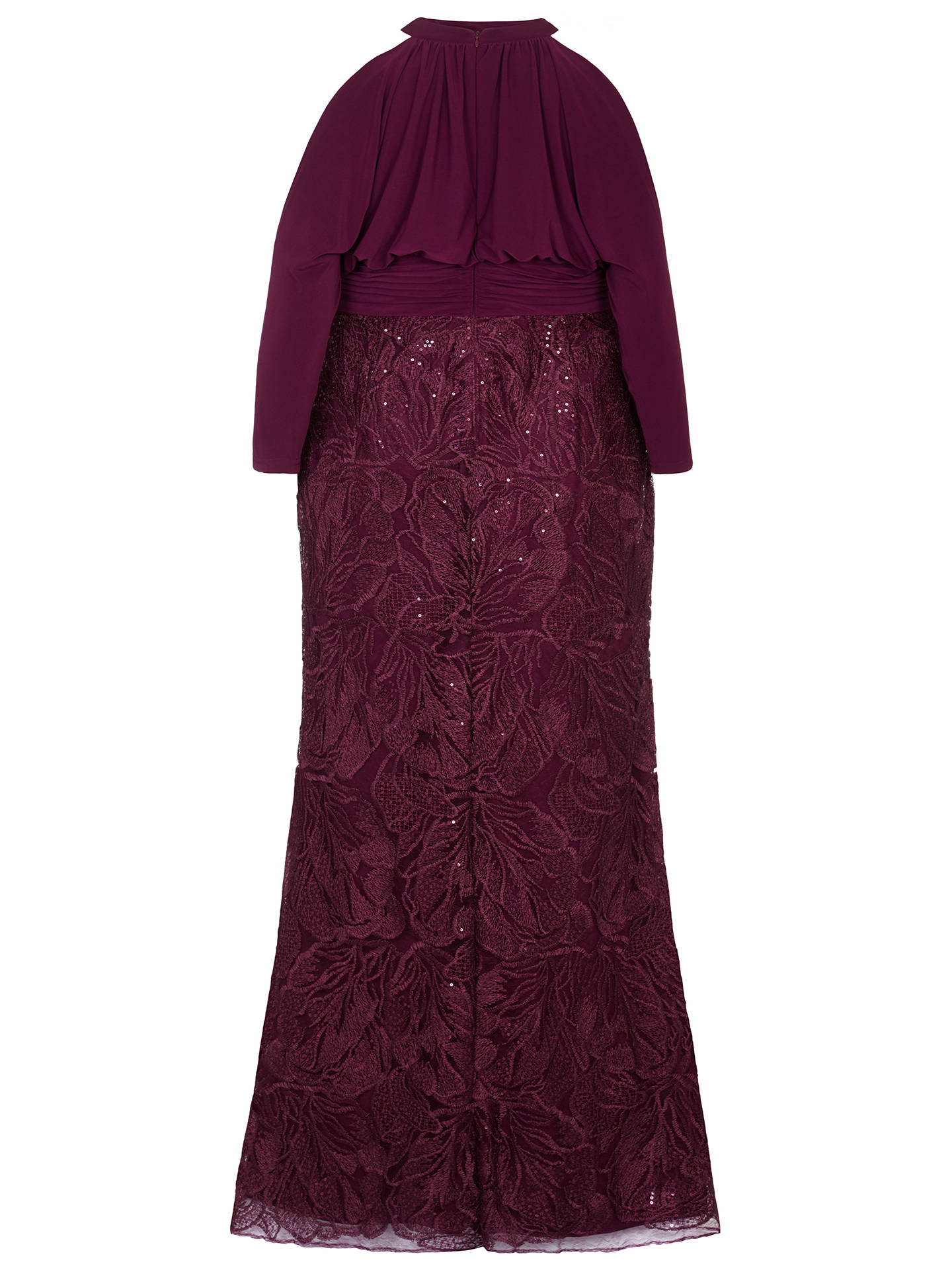 BuyAdrianna Papell Long Sequin Blouson Dress, Cabernet, 26 Online at johnlewis.com