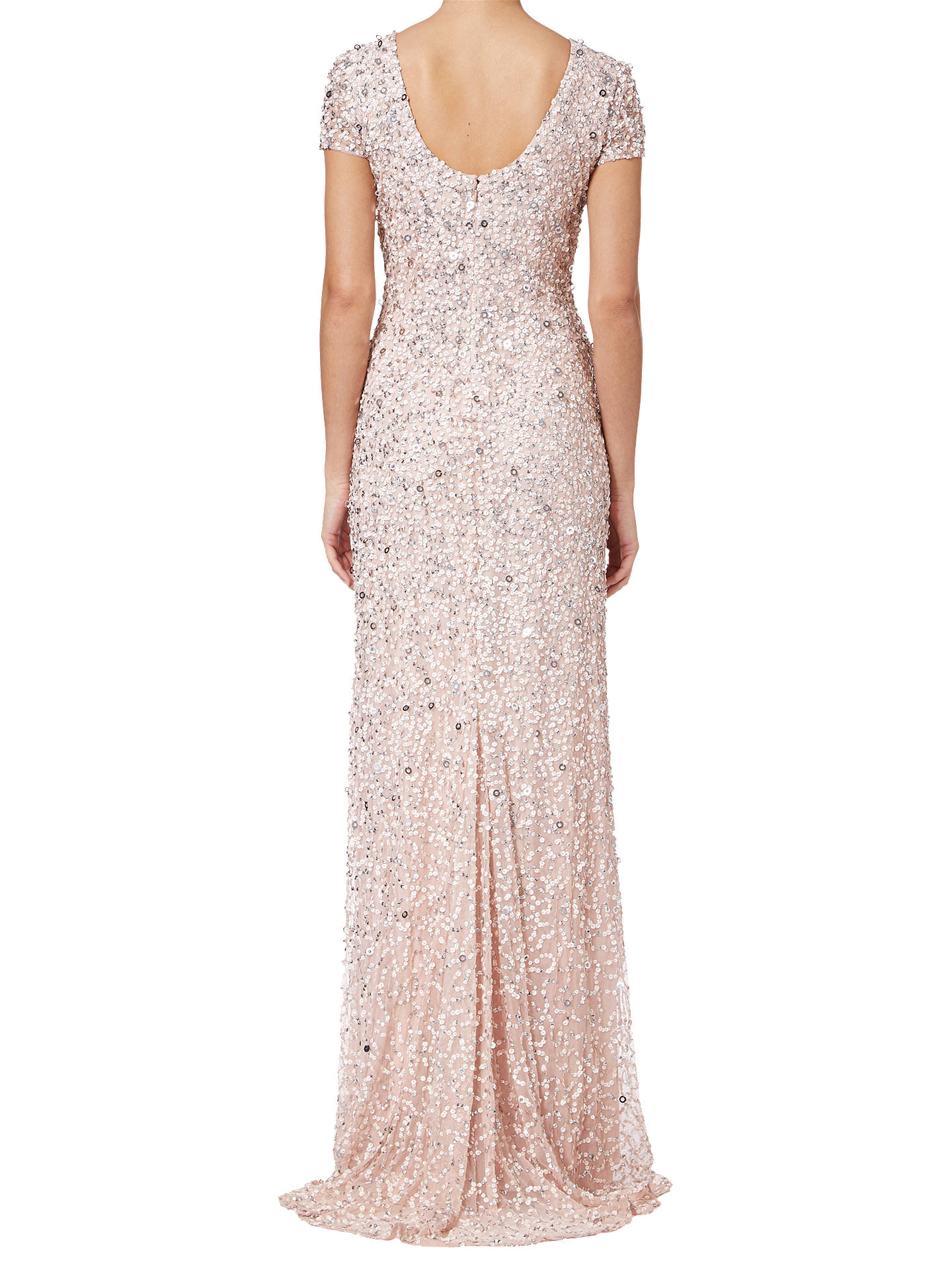 BuyAdrianna Papell Scoop Back Sequin Evening Dress, Blush, 8 Online at johnlewis.com