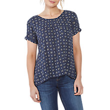 Buy Fat Face Zoe Star Tile Longline Top, Navy/Multi Online at johnlewis.com
