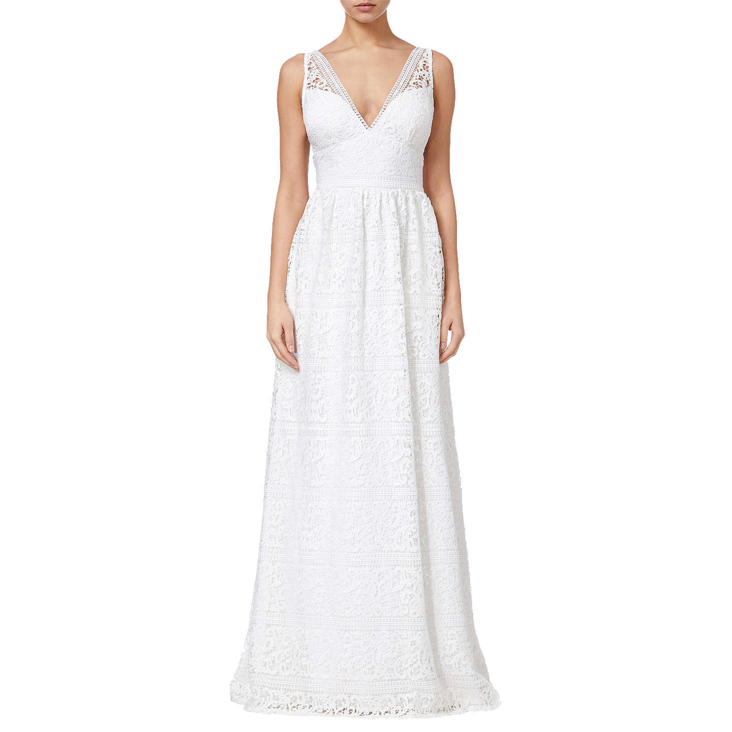 Adrianna Papell Stripe Lace Gown, Ivory at John Lewis