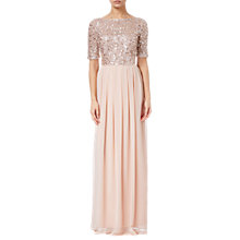 Buy Adrianna Papell Petite Beaded Top Gown, English Rose Online at johnlewis.com