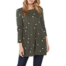 Buy Fat Face Ariana Birds Longline Top, Dark Moss Online at johnlewis.com