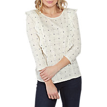 Buy Fat Face Daisy Ditsy Ruffle Top, Ivory Online at johnlewis.com