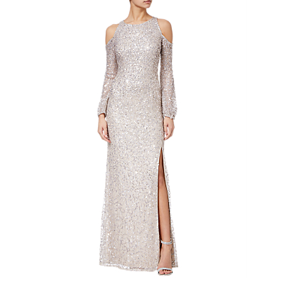 Adrianna Papell Beaded Long Dress, Nude