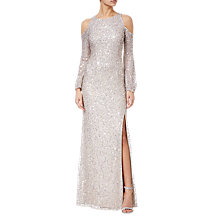 Buy Adrianna Papell Beaded Long Dress, Nude Online at johnlewis.com