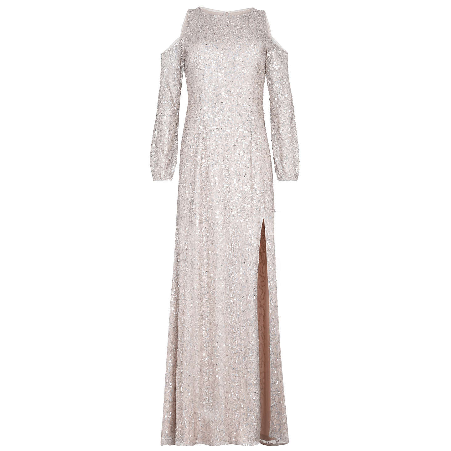 BuyAdrianna Papell Beaded Long Dress, Nude, 6 Online at johnlewis.com