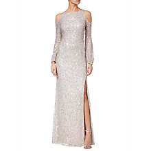 Buy Adrianna Papell Plus Size Beaded Long Dress, Nude Online at johnlewis.com