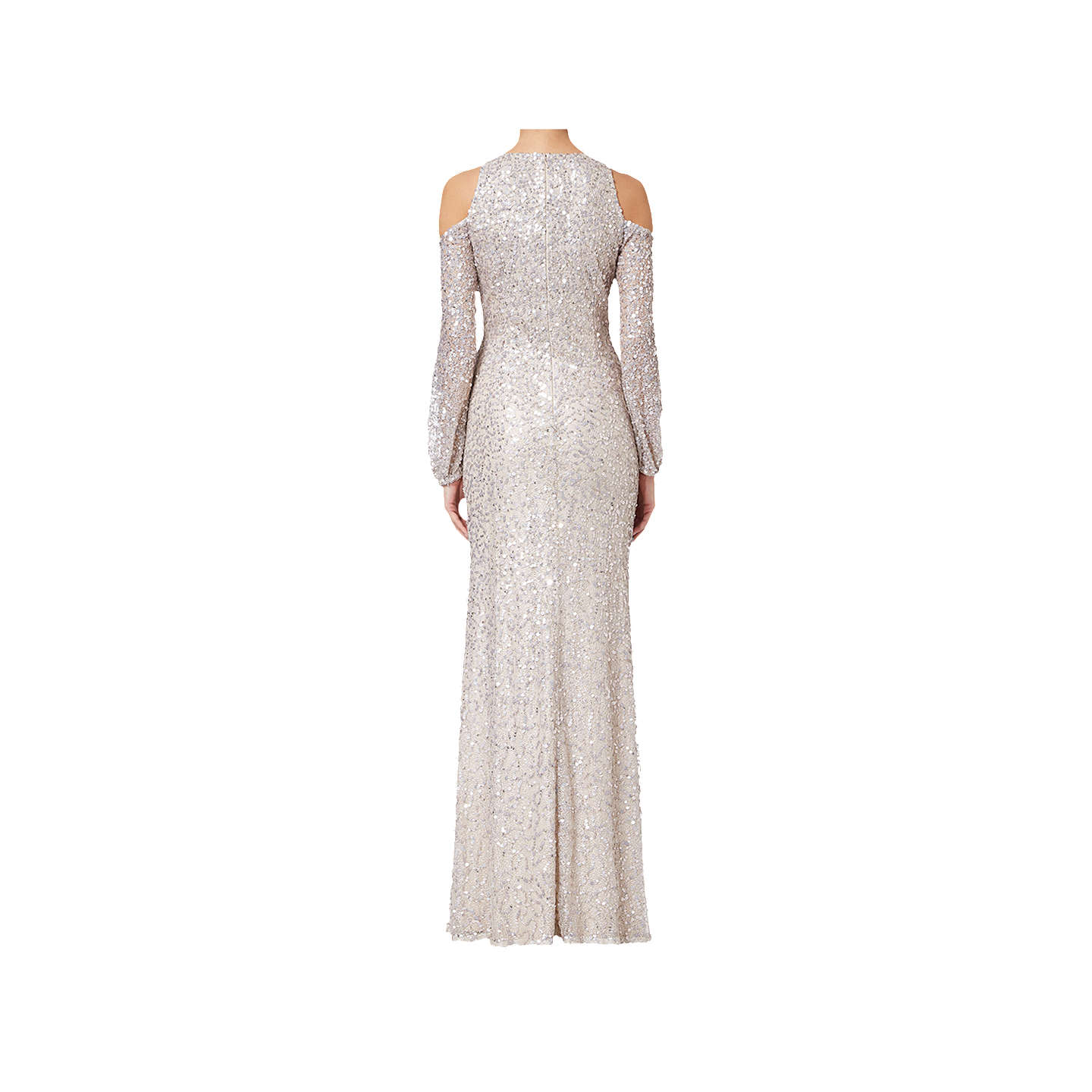 BuyAdrianna Papell Plus Size Beaded Long Dress, Nude, 18 Online at johnlewis.com
