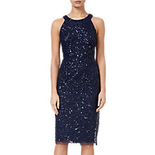 Buy Adrianna Papell Short Beaded Halter Dress, Navy Online at johnlewis.com
