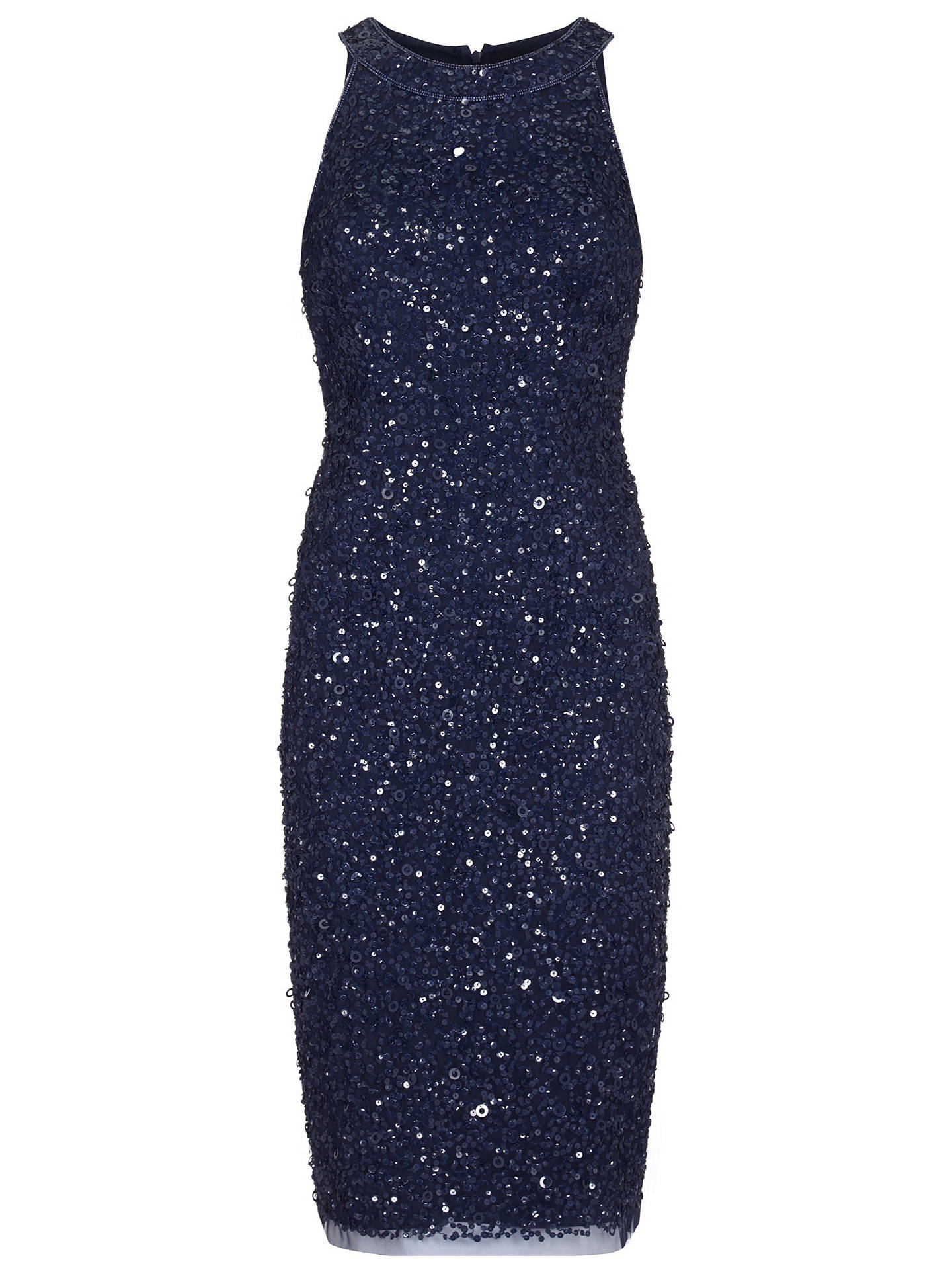 BuyAdrianna Papell Short Beaded Halter Dress, Navy, 8 Online at johnlewis.com
