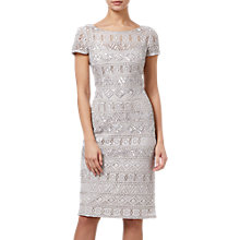 Buy Adrianna Papell Beaded Short Dress, Silver Online at johnlewis.com