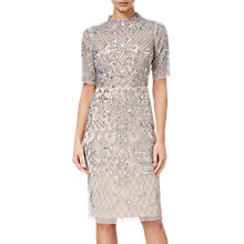 Buy Adrianna Papell Beaded Short Funnel Neck Dress, Silver/Nude Online at johnlewis.com