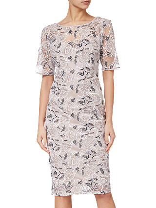 Buy Adrianna Papell Suzette Embroidered Dress, Pink Cinnamon, 8 Online at johnlewis.com