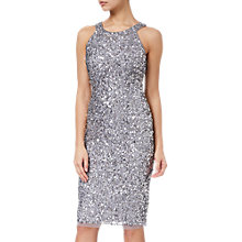 Buy Adrianna Papell Short Bead Halter Dress, Silver Online at johnlewis.com
