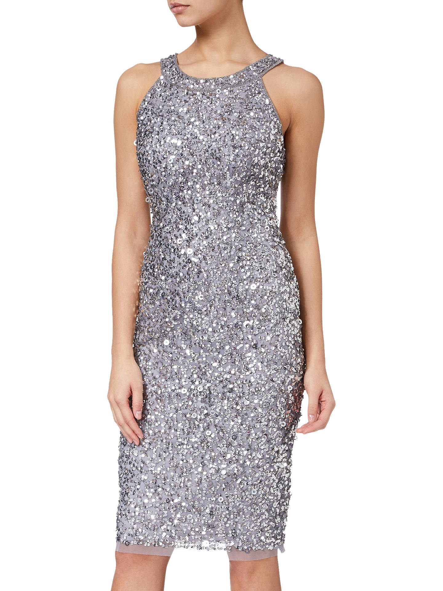 6b13a561b468 Buy Adrianna Papell Short Bead Halter Dress, Silver, 8 Online at  johnlewis.com ...