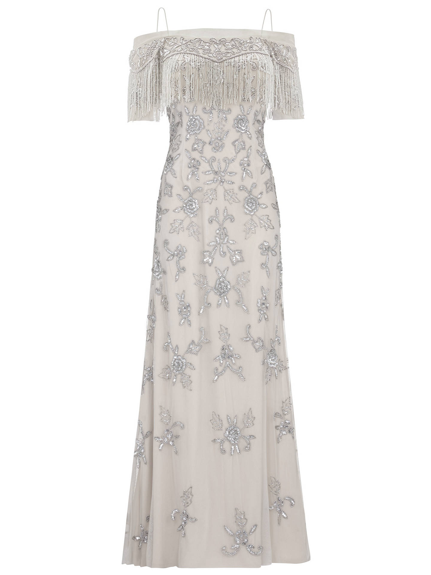 BuyAdrianna Papell Long Mermaid Fringe Dress, Silver, 8 Online at johnlewis.com