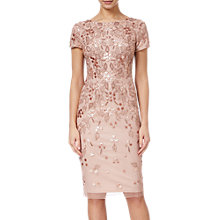 Buy Adrianna Papell Floral Beaded Short Dress, Rose Gold Online at johnlewis.com