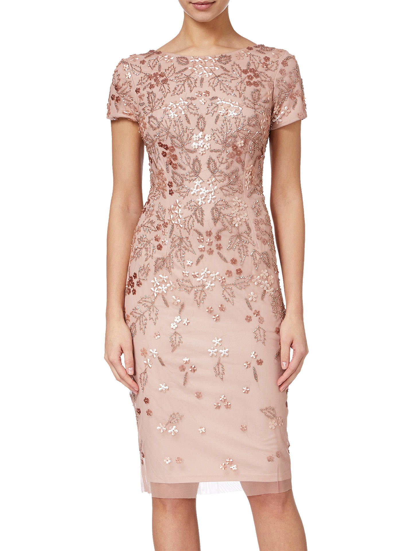 43e71a56 Buy Adrianna Papell Floral Beaded Short Dress, Rose Gold, 8 Online at  johnlewis.