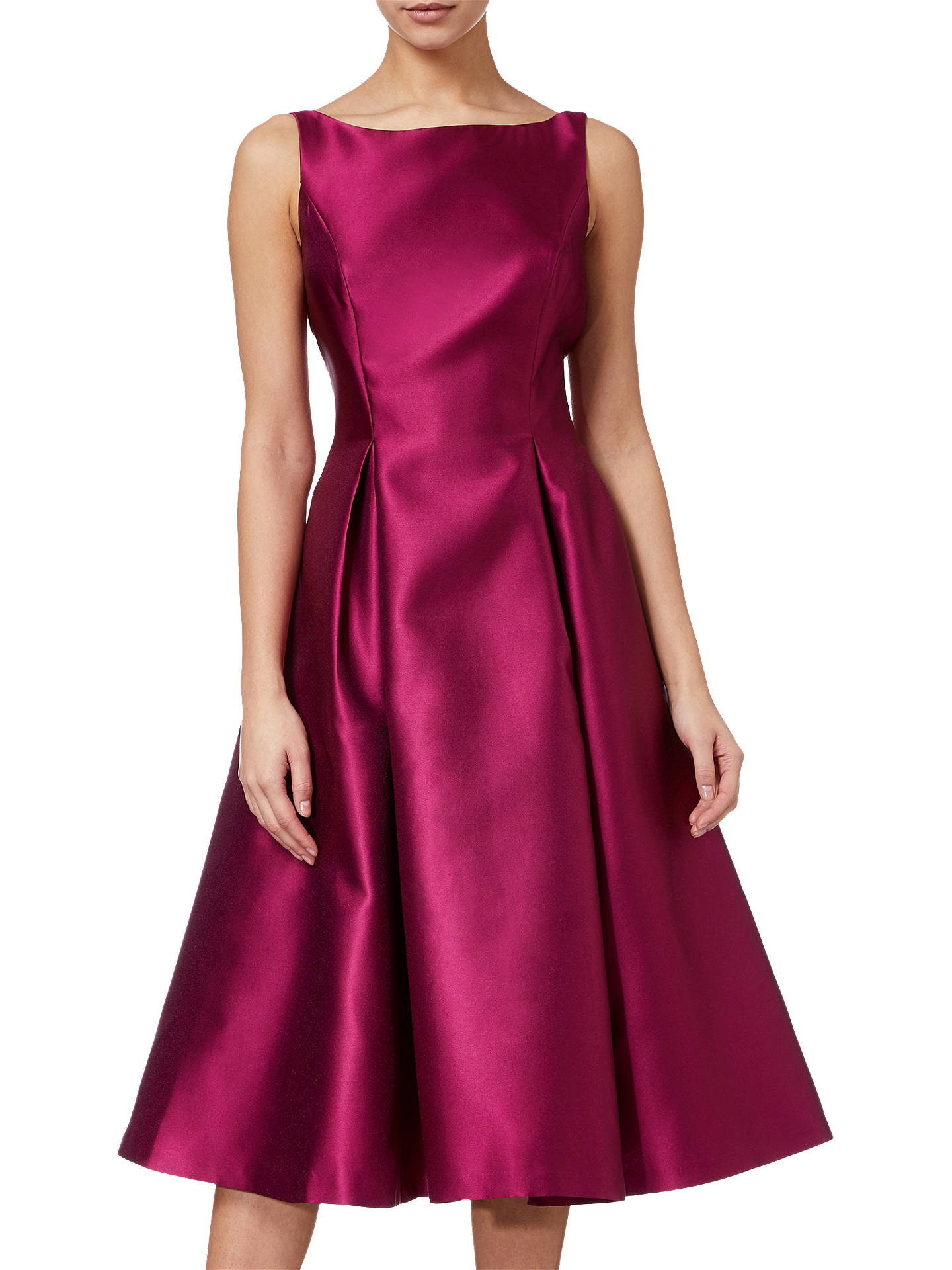 Buy Adrianna Papell Sleeveless Tea Length Dress, Red Plum, 8 Online at johnlewis.com