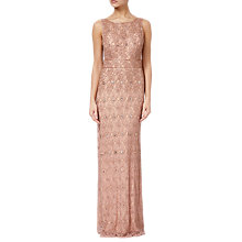 Buy Adrianna Papell Beaded V-Back Long Dress, Rose Gold Online at johnlewis.com